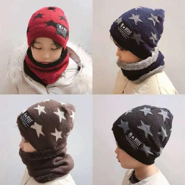 Gorro con bufanda de invierno para niño y niña