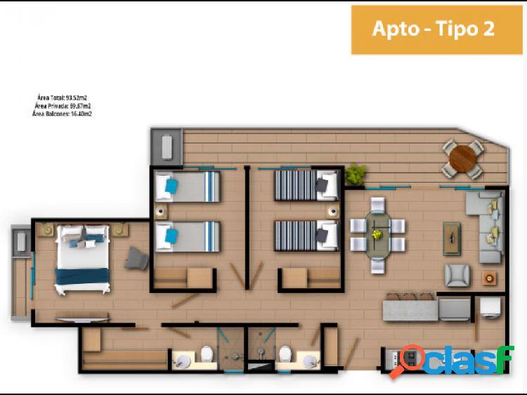 Venta apartamento 3 alcobas Zinnia Club House en Serena del mar 2
