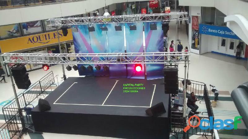 Alquiler sonido luces led neon btl video beam rompecielos cañon papel ventury bingo tarima carpa