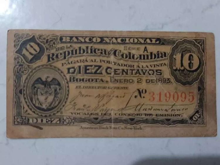 Billete de 10 centavos colombiano. de 1893