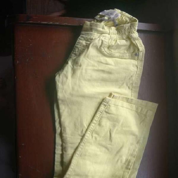 Pantalon drill niña amarillo