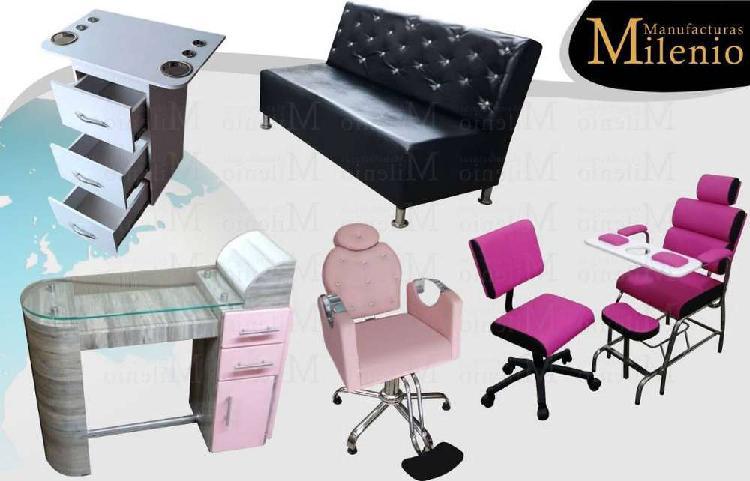 60 fabrica de recepcion, silla pedicure, lavacabezas, silla