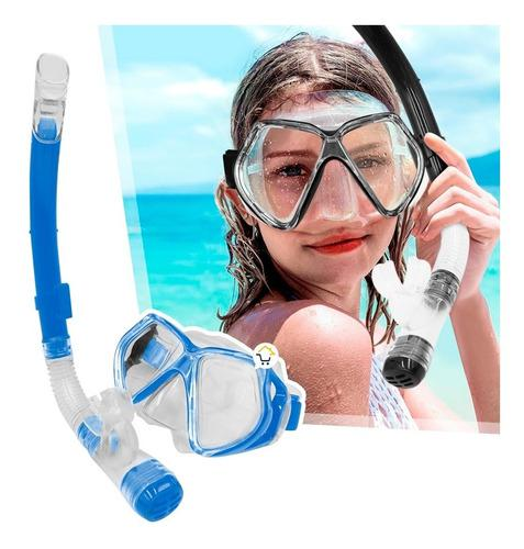 Kit Careta Vidrio Templado Snorkel Buceo Mar 2526p/s11p