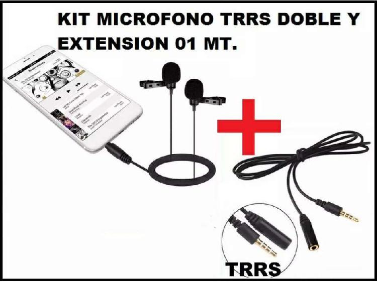 Kit micrófono doble con extensión de 1 metro para