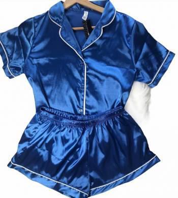 Pijama satin azul rey