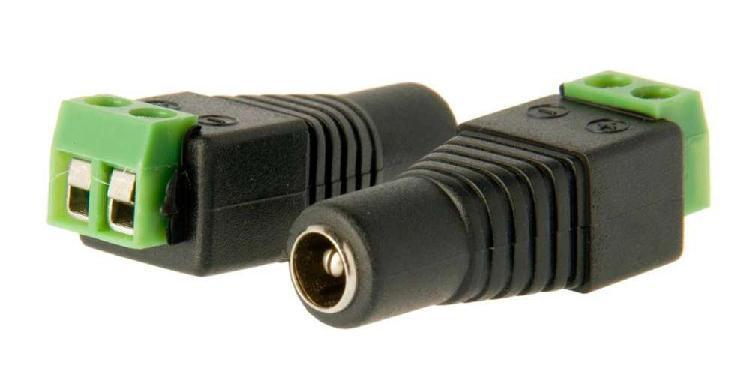Conector de energia hembra - macho camaras de seguridad cctv