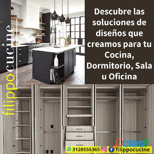 Diseño de Interiores, Cocinas y Mobiliario Moderno