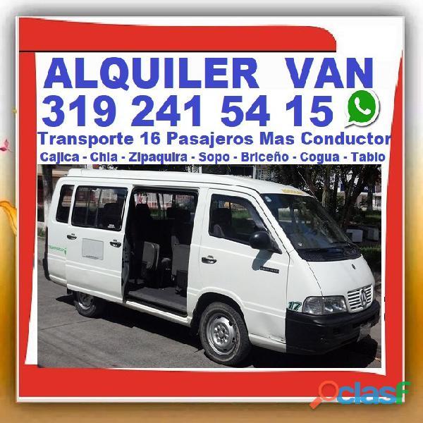 ⭐ VIAJE EXPRESO, Transporte 16 Pasajeros, Alquiler Vans, Van, Con Conductor, Desde Bogota, Chia, Zip