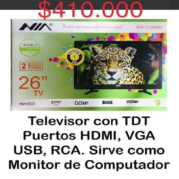 Nuevo televisor-monitor nia 26 pulgadas tdt vga hdmi rca