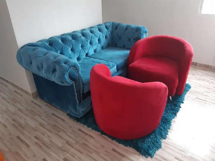 Juego de sala.. 1 mueble sofa (azul fantassy), 2 butacas