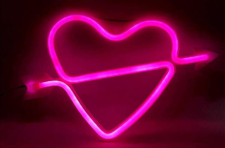 Aviso led neon love y corazon
