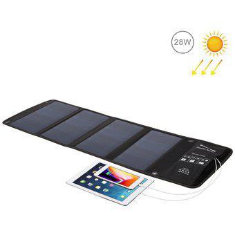 Cargador de panel solar plegable haweel 28w con puertos usb