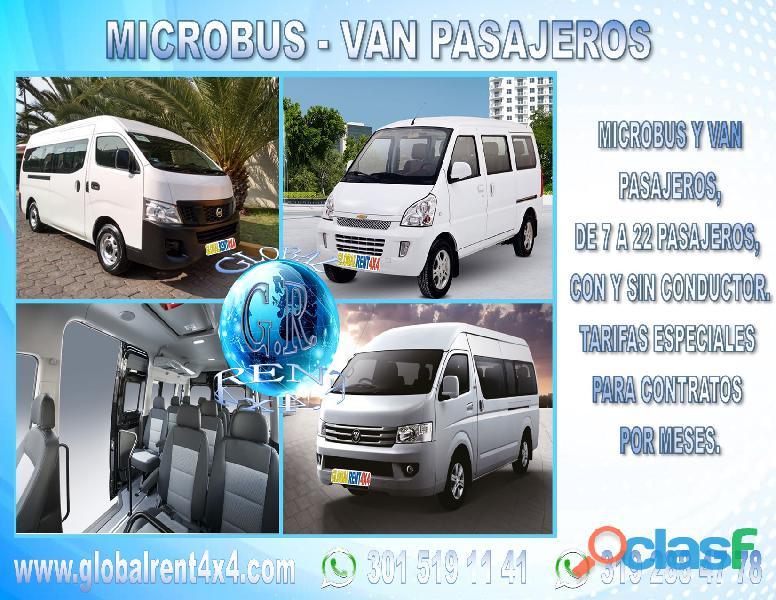Alquiler microbus van pasajeros y carga cali