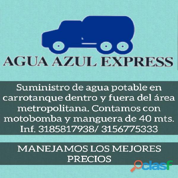 Suministro y transporte de agua potable en carrotanque dentro y fuera del área metropolitanaa