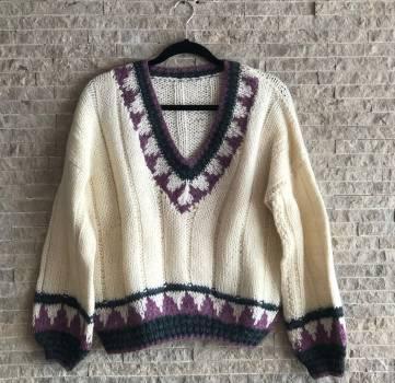 Sacos lana mujer cuello en v manga larga