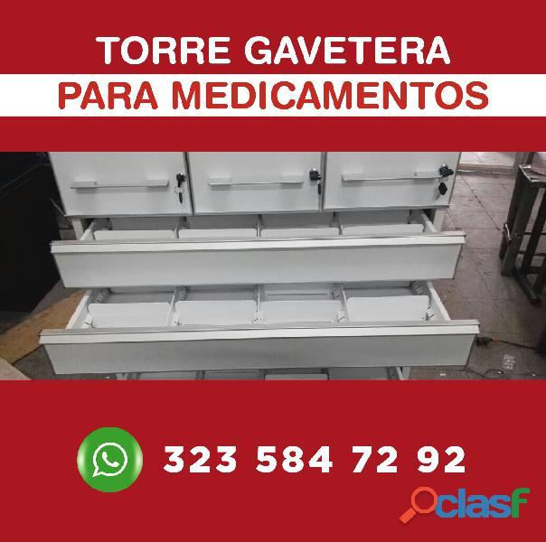 Torres gaveteras para almacenar medicamentos