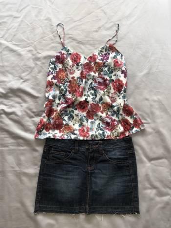 Conjunto falda jean y blusa tiritas