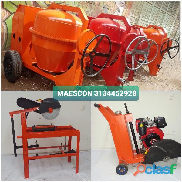 Mezcladora de cemento, cortadoras de ladrillo y pavimento para construcción