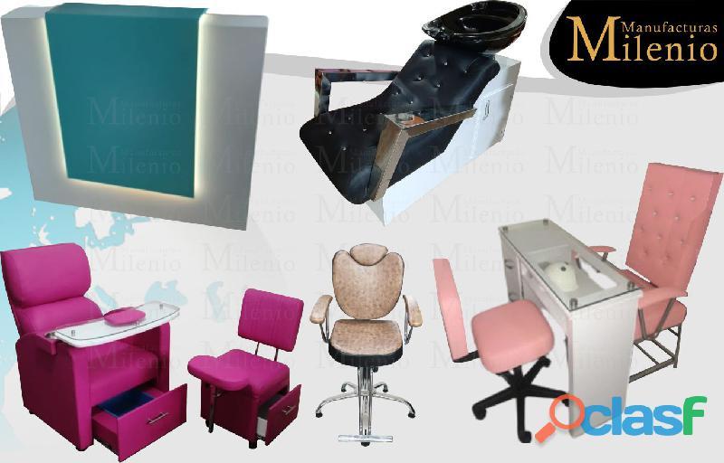 127 agradables muebles para salas de belleza, mesa manicura, lavacabezas, silla de peluqueria.