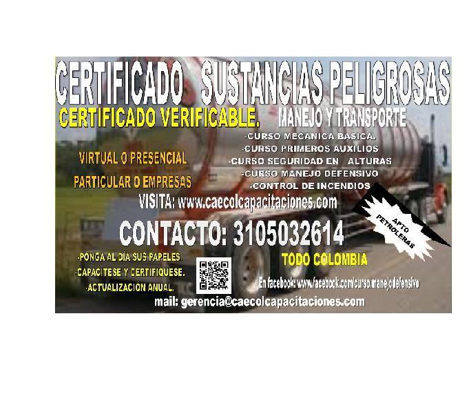 Curso manejo sustancias peligrosas certificado