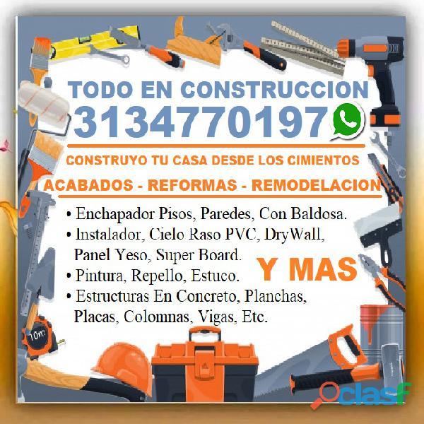 ⭐ oficial construccion, maestro de obra, albañil, plomero, electricista, pintor, cielo raso pvc, enc