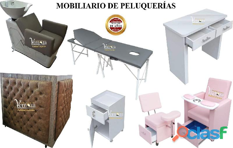 190 aptos fabrica de muebles para peluqueria ,silla neumatica, mesa para uñas acrilicas, lavacabeza