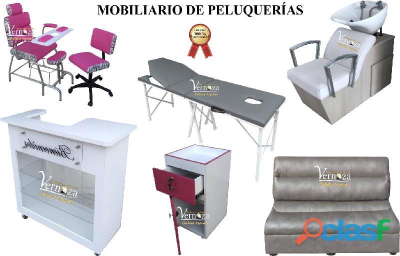 220 identicos muebles para peluqueria silla neumatica, mesa para uñas acrilicas, lavacabezas
