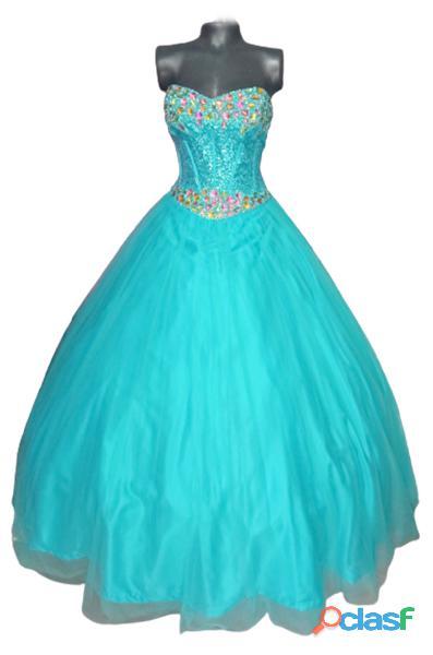 Alquiler de Vestido straple turquesa de mujer para fiesta de quince años