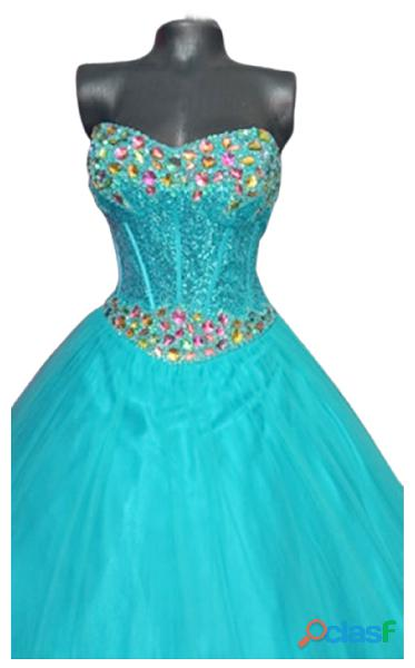 Alquiler de Vestido straple turquesa de mujer para fiesta de quince años 1