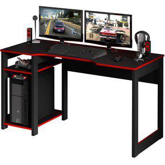 Escritorio gamer muebles 2020 génova negro/rojo
