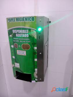 Maquina dispensador papel higienico con monedas