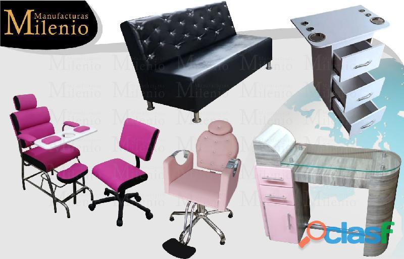 1 fabrica para peluquería, lavacabezas, silla de peluqueria, mesa manicura, tocador barberia, tarima