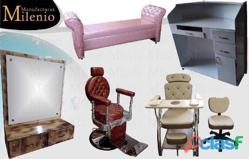 34 variedades en mobiliario para peluquería, lavacabezas, silla de peluqueria, mesa manicura, tocado