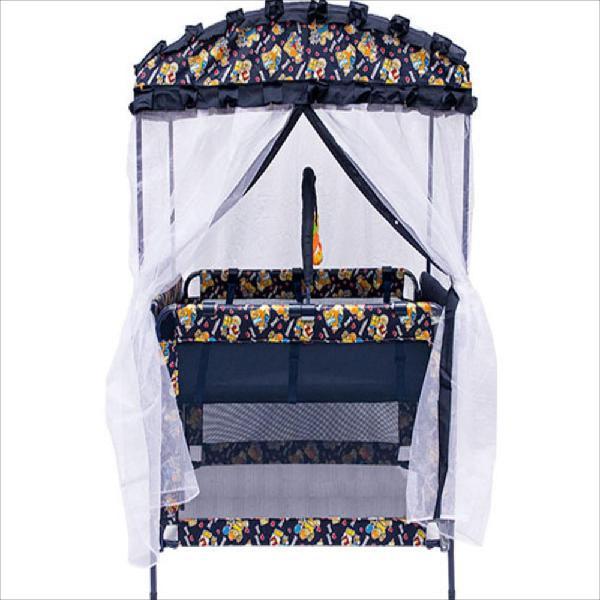 Cuna corral para bebe con toldillo tipo casita azul