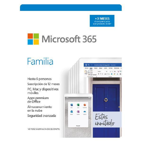 Pin microsoft office 365 familia para 6 usuarios / 15 meses