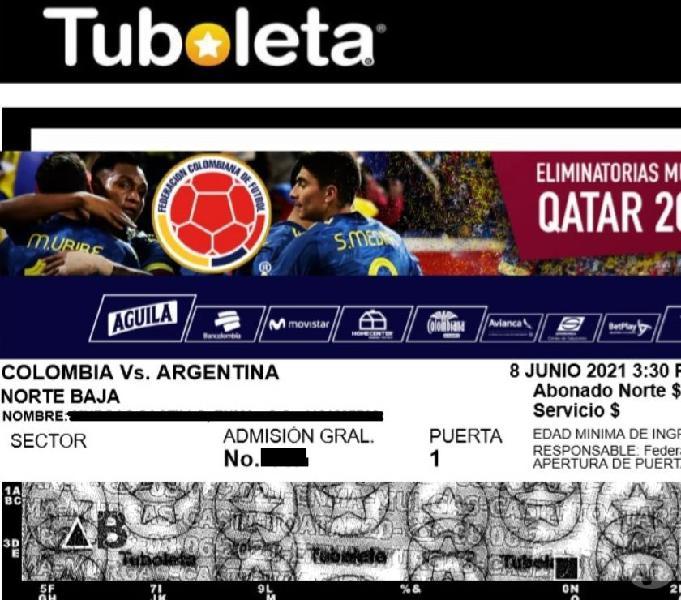 Boletas Colombia Argentina