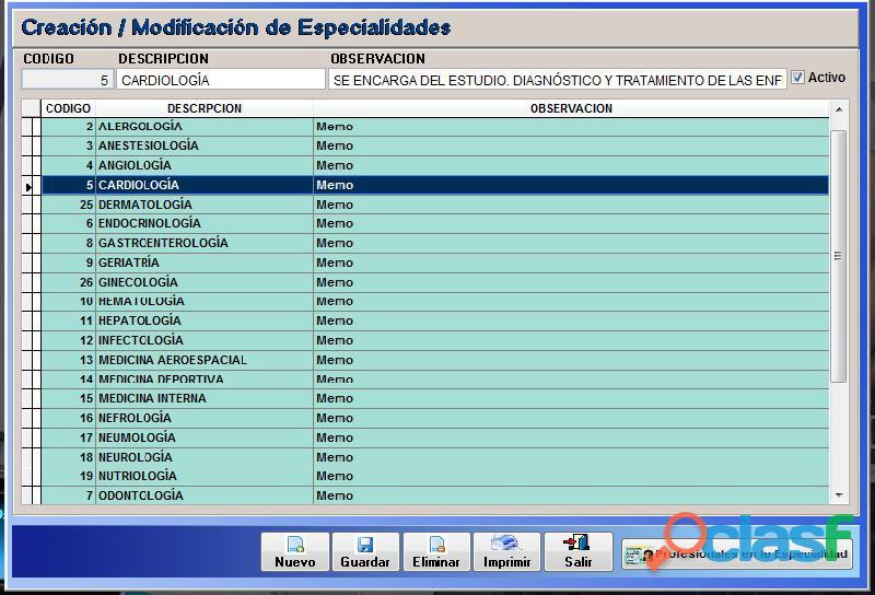 Sistema Control Consultorio Médico