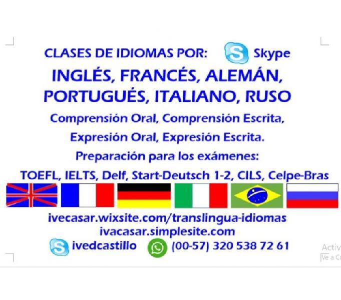 Clases de inglés, francés, portugués, alemán, italiano y