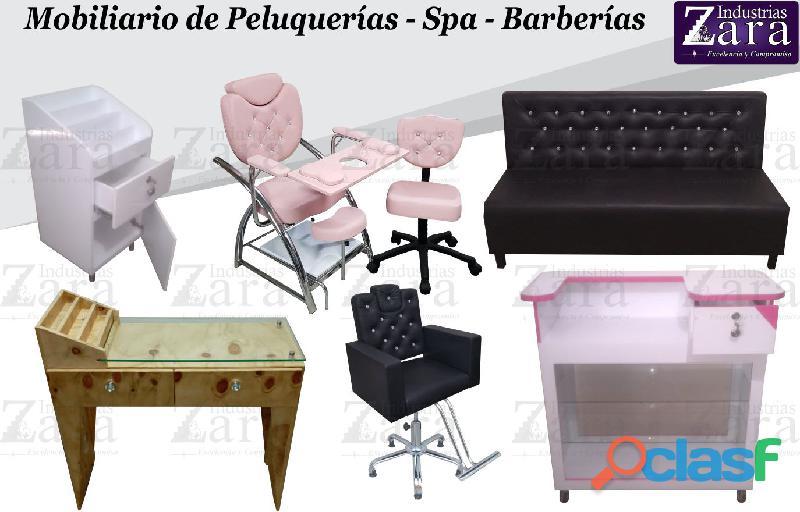 244 ABUNDANTES MUEBLES DE PELUQUERIA, LAVACABEZAS, SILLA DE PELUQUERIA, MESA MANICURA...