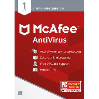 Antivirus mcafee para 1 pc 1 año retail original