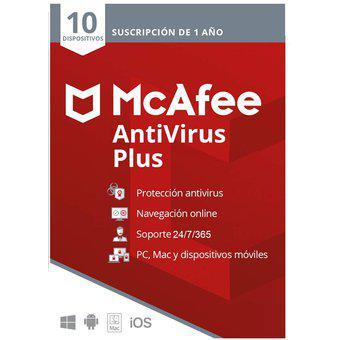 Antivirus mcafee plus para 10 pc, android, mac, ios 1 año
