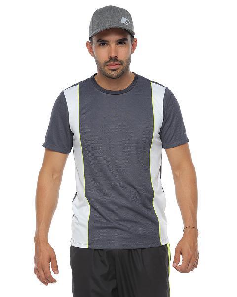 Camiseta deportiva manga corta, color gris oscuro para