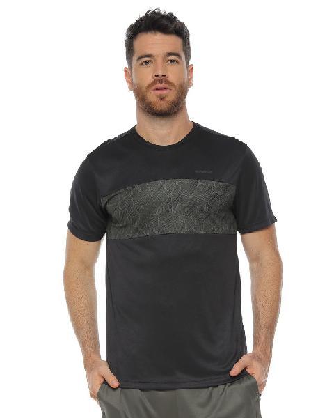Camiseta deportiva manga corta, color negro para hombre