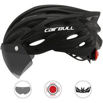 Casco bicicleta mtb ruta con gafas cairbull cb-10 negro