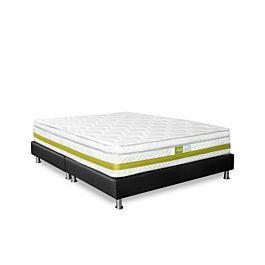 Colchón lyra + base cama negra + 1 almohada - rem