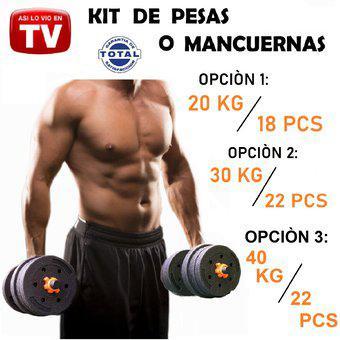Kit pesas o mancuernas 20 kilos 40 libras gimnasio ejercicio