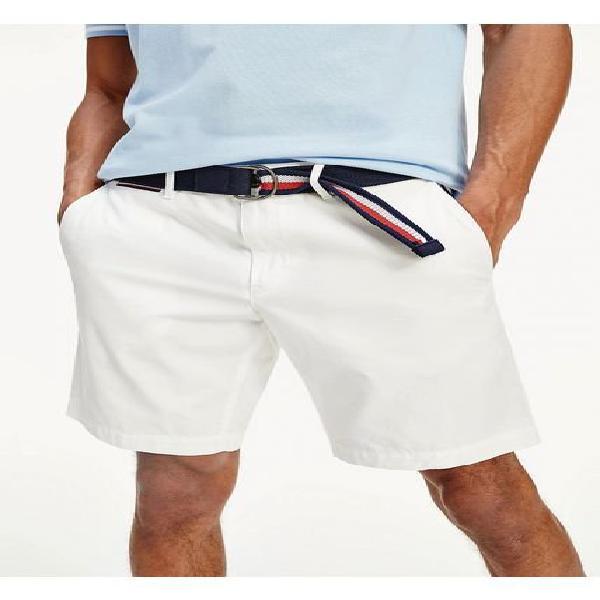 Pantalón corto ligero brooklyn con cinturón blanco tommy