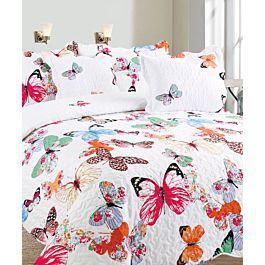 Colcha doble faz mariposas + fundas + cojines - my home
