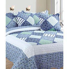 Colcha estampada doble faz azul + fundas + cojines - my home