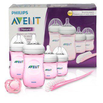 Set de teteros avent natural 2.0 recién nacido rosado